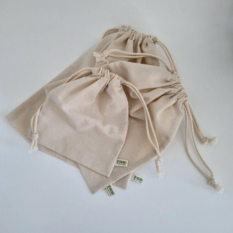 Lot de 3 sacs à vrac en coton bio réutilisables