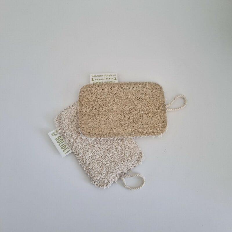 Eponge en coton bio et loofah