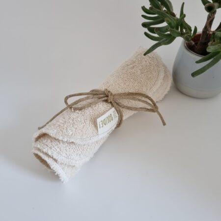 Rouleau de 3 lavettes réutilisables lavables en coton bio